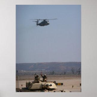 CH-53E SUPER STALLION over M1A2 Tank Poster