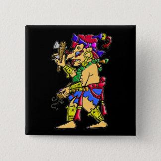 Chac mayan rain god 15 cm square badge
