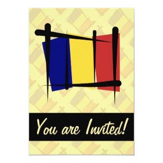 Chad Brush Flag 13 Cm X 18 Cm Invitation Card