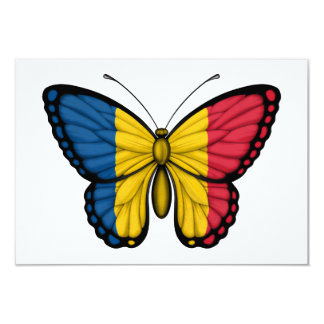 """Chad Butterfly Flag 3.5"""" X 5"""" Invitation Card"""