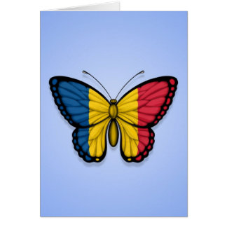 Chad Butterfly Flag on Blue Greeting Card