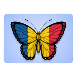 """Chad Butterfly Flag on Blue 5"""" X 7"""" Invitation Card"""