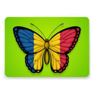 Chad Butterfly Flag on Green Custom Invitation