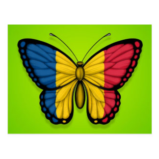 Chad Butterfly Flag on Green Postcard