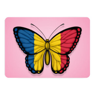 Chad Butterfly Flag on Pink 13 Cm X 18 Cm Invitation Card