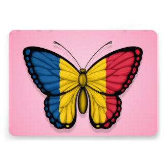 Chad Butterfly Flag on Pink Invites