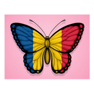 Chad Butterfly Flag on Pink Postcard