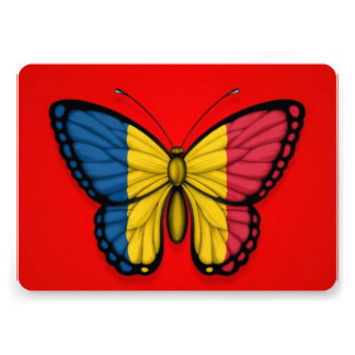 Chad Butterfly Flag on Red Custom Announcements