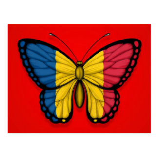 Chad Butterfly Flag on Red Postcard