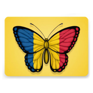 Chad Butterfly Flag on Yellow Custom Invites