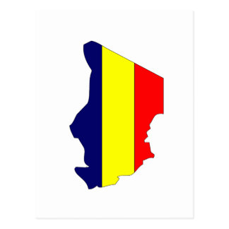 Chad flag map postcard