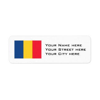 Chad Flag Return Address Label