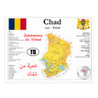 Chad map postcard
