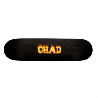 Chad skateboard fire and flames design
