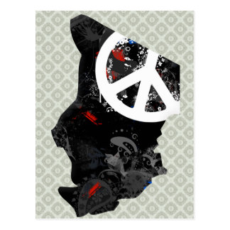 Chad Trendy Peace Sign with Chadian map Postcard