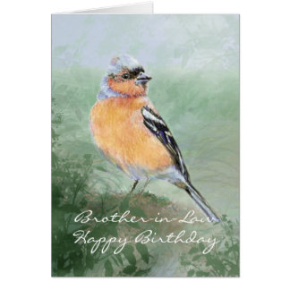Chaffinch Bird Happy Birthday Brother-in-Law Greeting Card