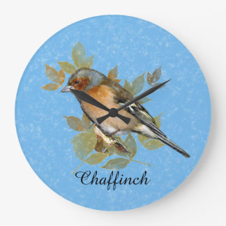 Chaffinch with leaf, vintage design. large clock