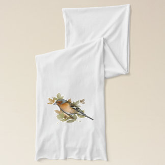 Chaffinch with leaf, vintage design. scarf