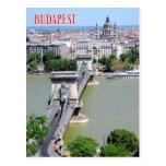 Chain Bridge over River Danube, Budapest, Hungary Postcard