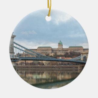Chain Bridge with Buda Castle Hungary Budapest Christmas Ornament