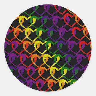 chain of hearts classic round sticker