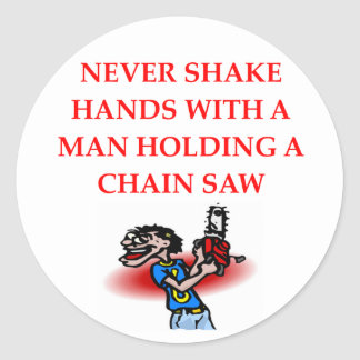 chain saw round stickers