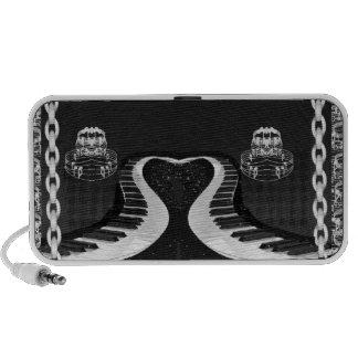 Chained Heart-Shaped Piano Keys with Music notes Notebook Speakers