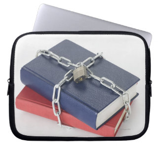 Chained stack of books laptop sleeve