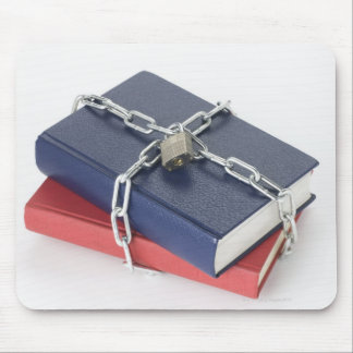 Chained stack of books mouse pad