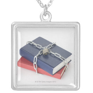Chained stack of books square pendant necklace