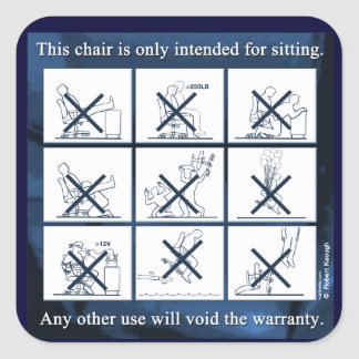 Chair Don'ts Square Sticker