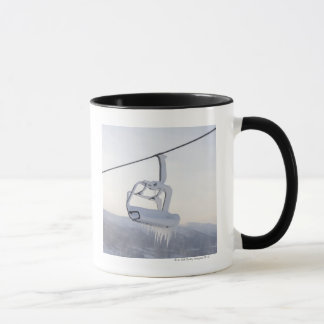 Chair lift full of snow and ice mug