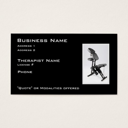 Chair Massage Therapist Business Card