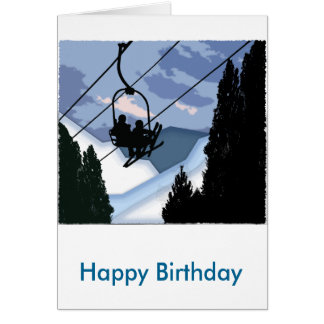 Chairlift Full of Skiers Card