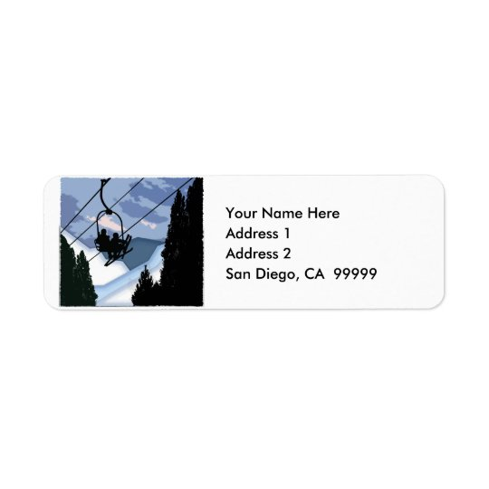 Chairlift Full of Skiers CUSTOMIZED Return Address Label