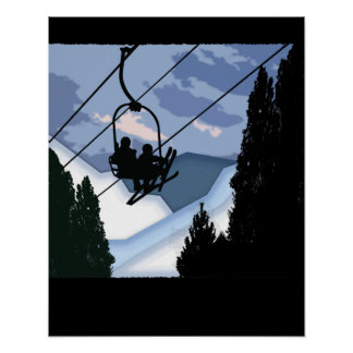 Chairlift Full of Skiers Poster