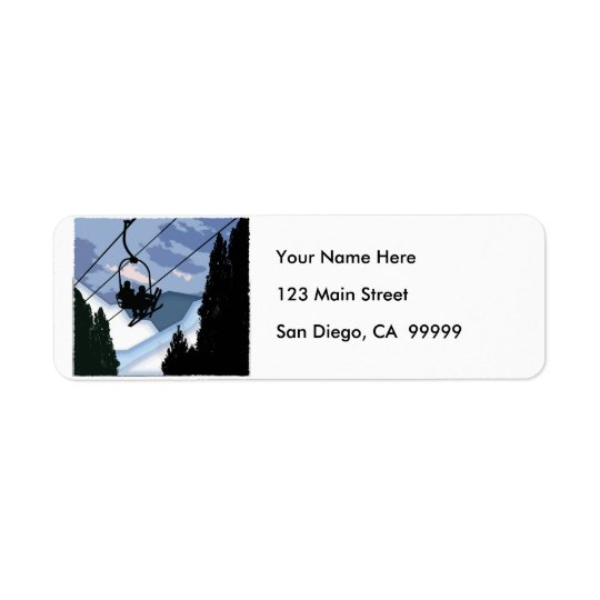 Chairlift Full of Skiers Return Address Label