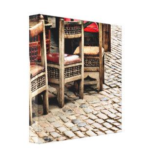 Chairs & Cobblestone Canvas Print
