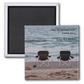Chairs on Beach Miss You Square Magnet