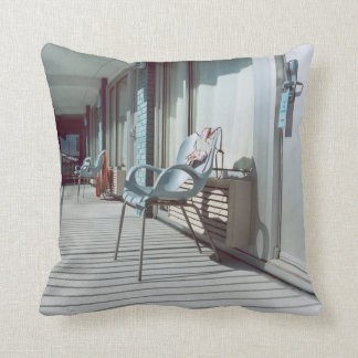 Chairs Outside Beach Hotel Rooms Throw Pillow