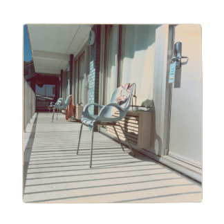 Chairs Outside Beach Hotel Rooms Wood Coaster