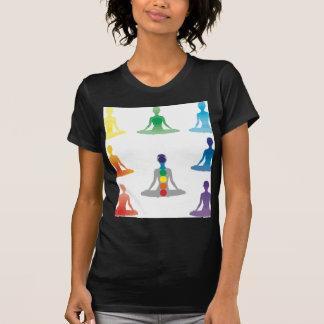 Chakra 7 colors aura chi prana yogi yoga lotus tshirts