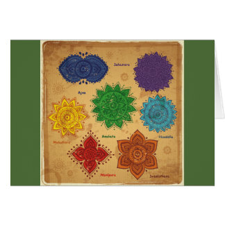 chakra,ajna,muladhara,anahata,manipura,svadisthara greeting card