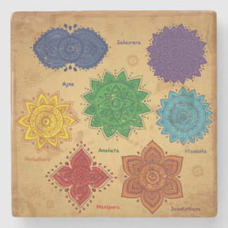 Chakra,Ajna,muladhara,anahata,manipura,svadisthara Stone Coaster