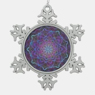 Chakra Blossom, boho, new age, spiritual Snowflake Pewter Christmas Ornament