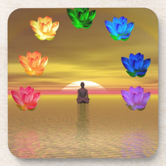 chakra golden colored background cosmos coaster