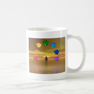 chakra golden colored background cosmos coffee mugs