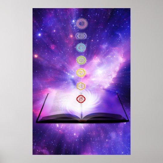 Chakra knowledge seven chakras symbols purple wall poster