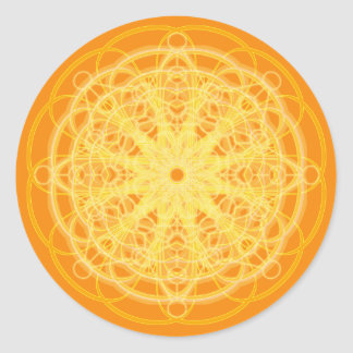 Chakra Mandala Sacred Geometry Bright Orange Classic Round Sticker