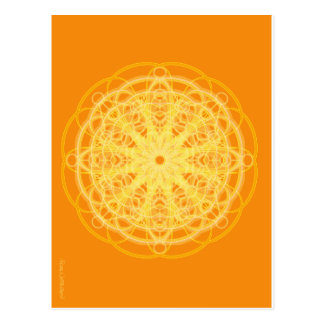 Chakra Mandala Sacred Geometry Bright Orange Postcard